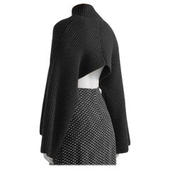 Rosetta Getty Black Asymmetric ribbed wool and cashmere-blend Jumper - Size XS