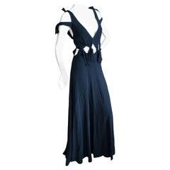 """Rosetta Getty Black """"Highstreet"""" Cut Out Knotted Evening Dress"""