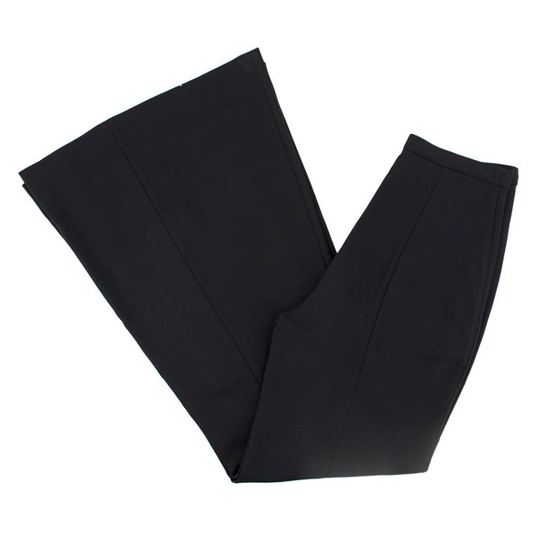 Rosetta Getty Black Jersey Pintuck Flared Trousers Size US 4 In Excellent Condition For Sale In London, GB