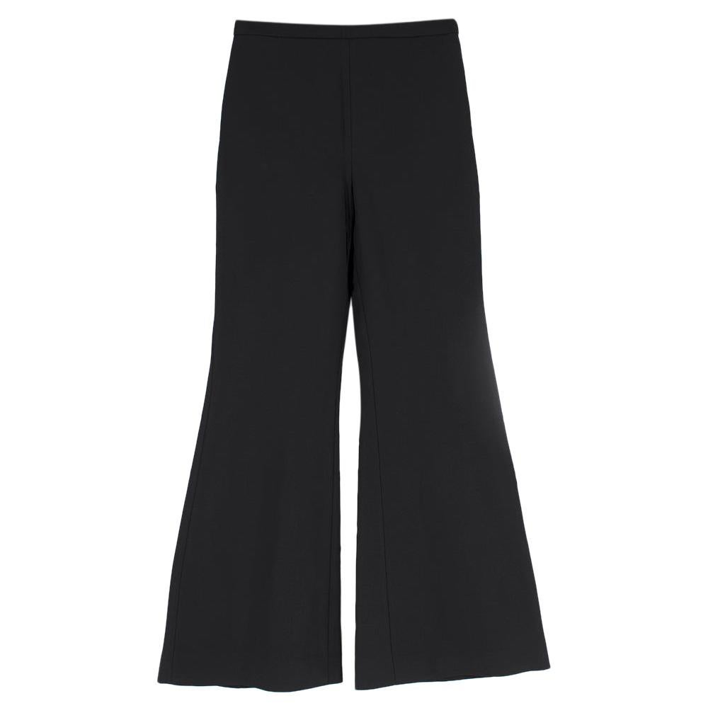 Rosetta Getty Black Jersey Pintuck Flared Trousers Size US 4
