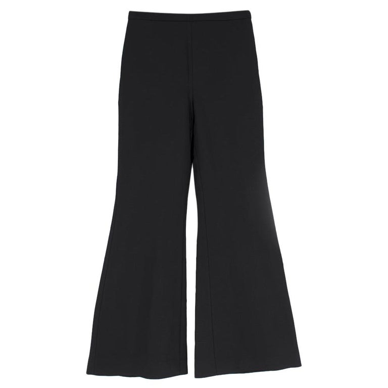 Rosetta Getty Black Jersey Pintuck Flared Trousers Size US 4 For Sale