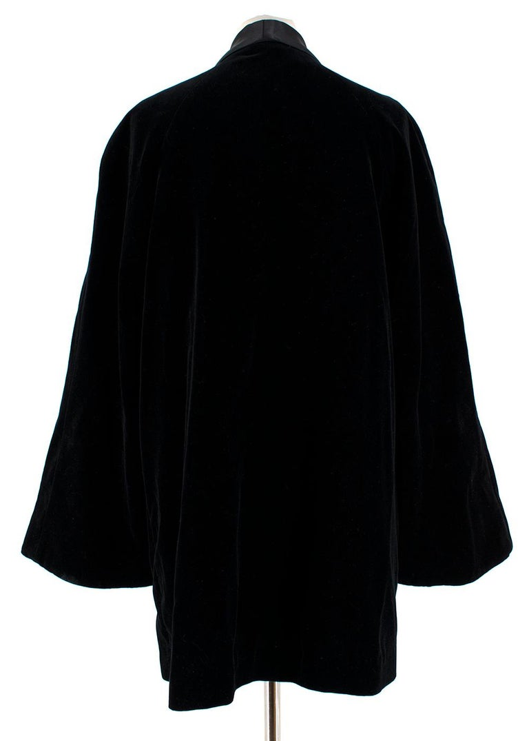 Rosetta Getty Black Velvet Satin Detail Shawl Jacket - Size US 4 In Excellent Condition For Sale In London, GB