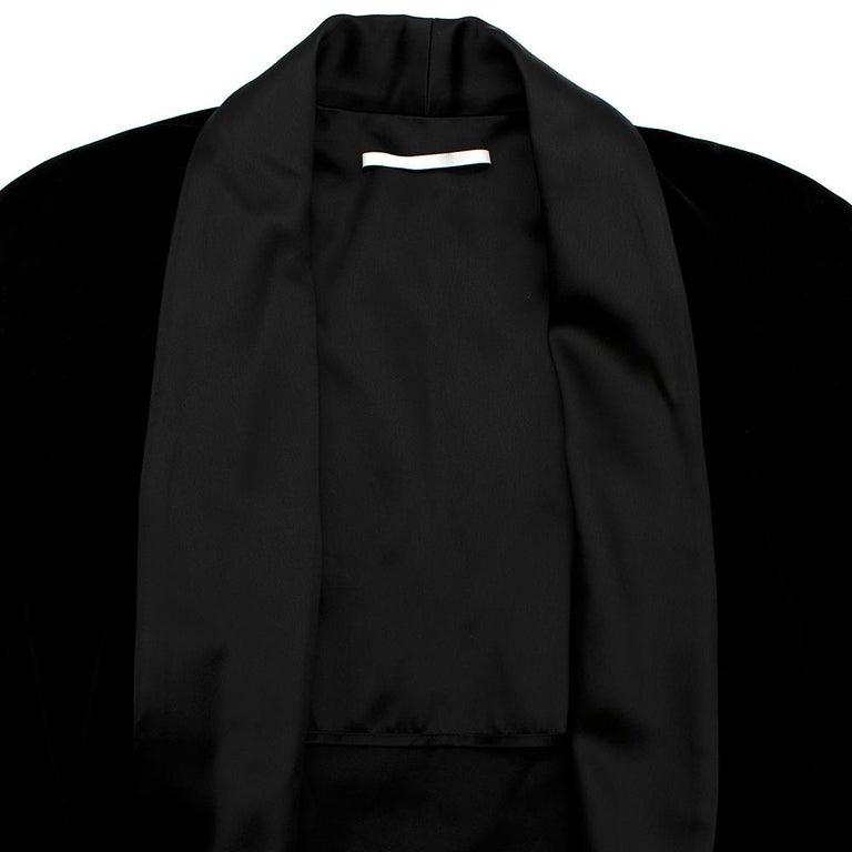 Women's or Men's Rosetta Getty Black Velvet Satin Detail Shawl Jacket - Size US 4 For Sale