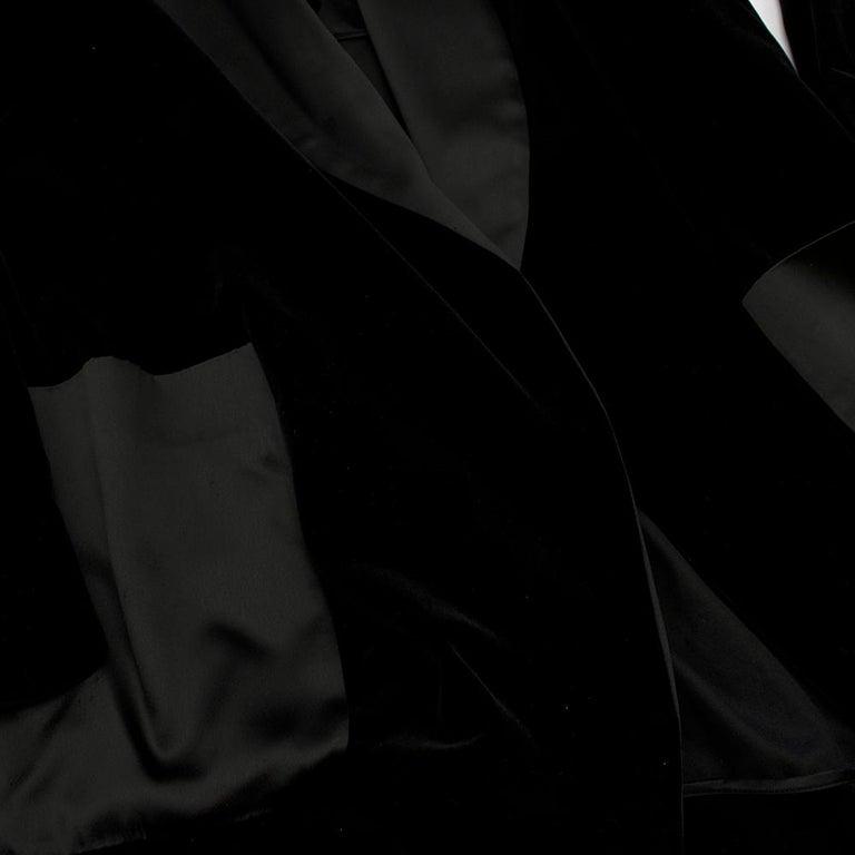 Rosetta Getty Black Velvet Satin Detail Shawl Jacket - Size US 4 For Sale 1