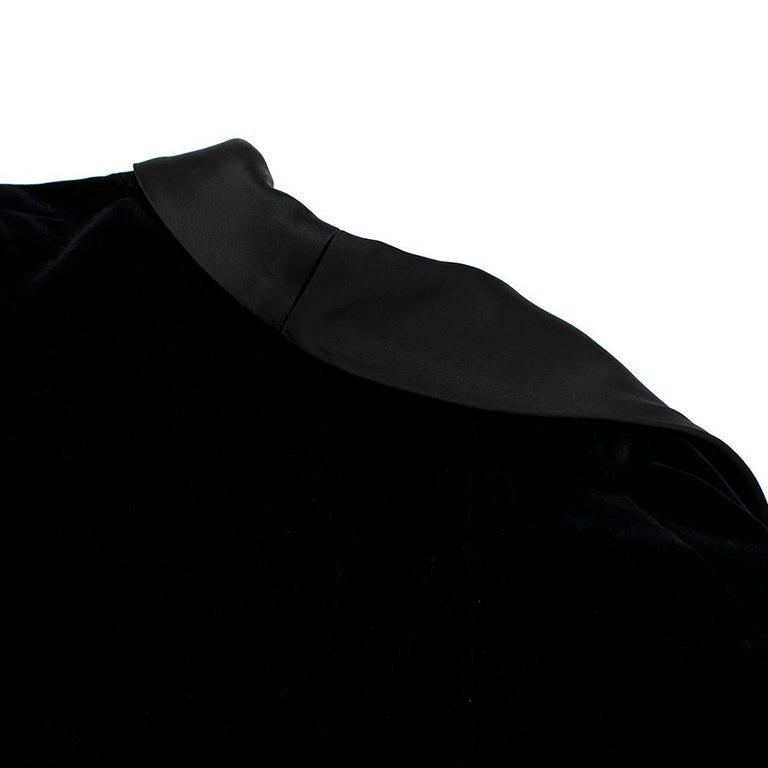 Rosetta Getty Black Velvet Satin Detail Shawl Jacket - Size US 4 For Sale 4