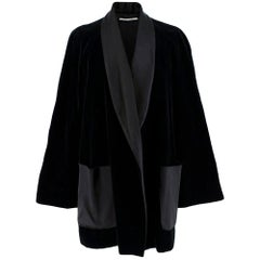 Rosetta Getty Black Velvet Satin Detail Shawl Jacket - Size US 4