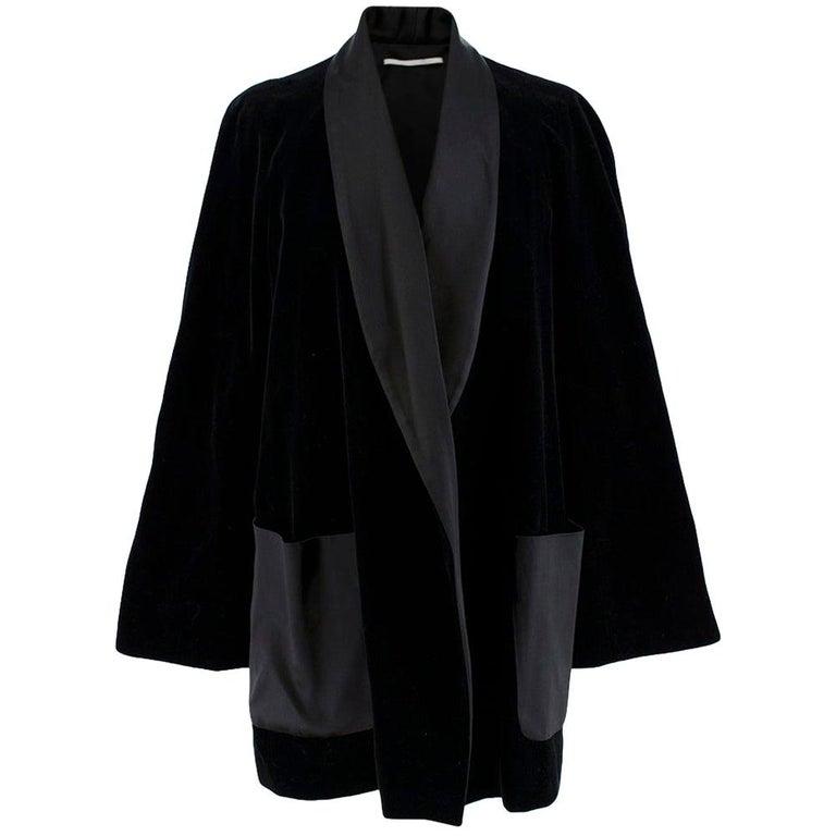Rosetta Getty Black Velvet Satin Detail Shawl Jacket - Size US 4 For Sale