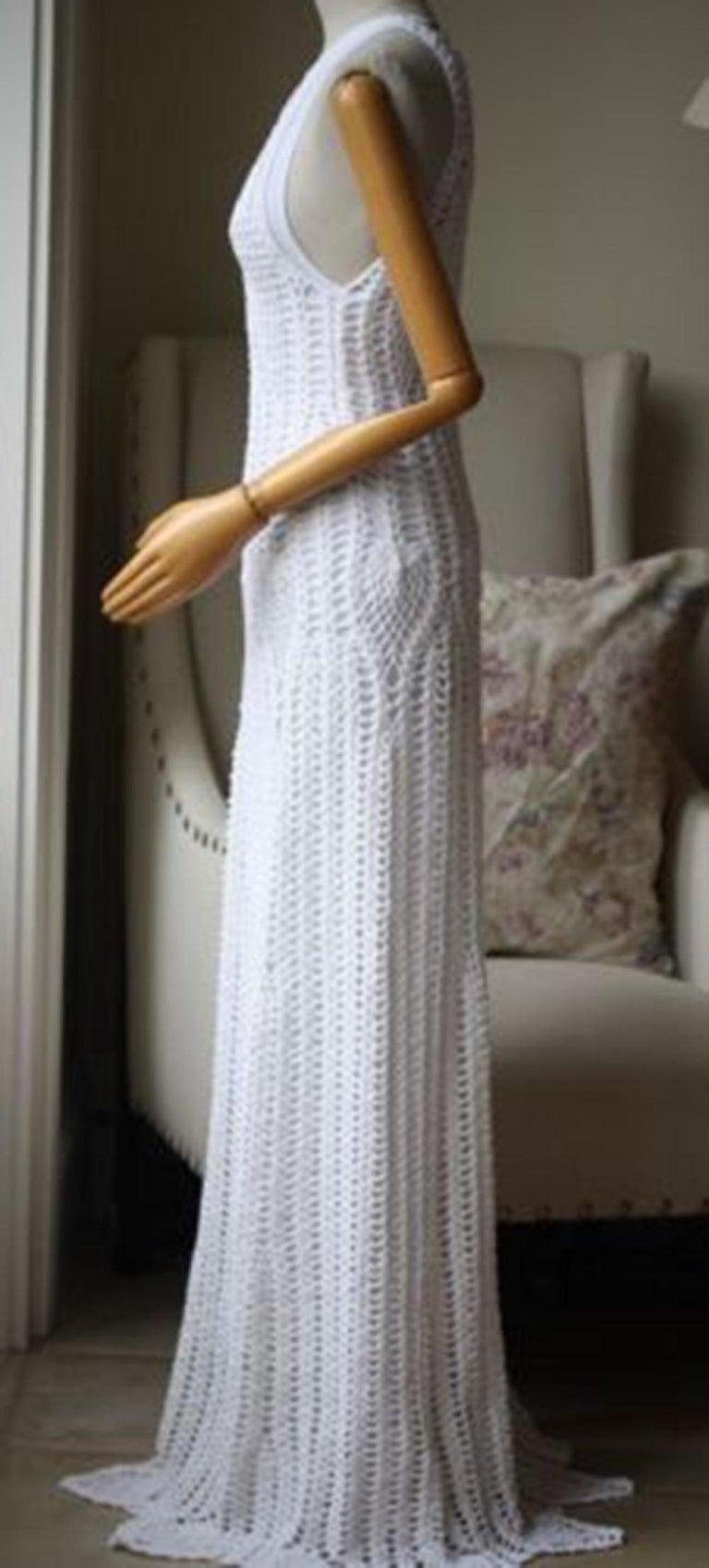 Gray Rosetta Getty Crocheted Cotton-Blend Maxi Dress For Sale