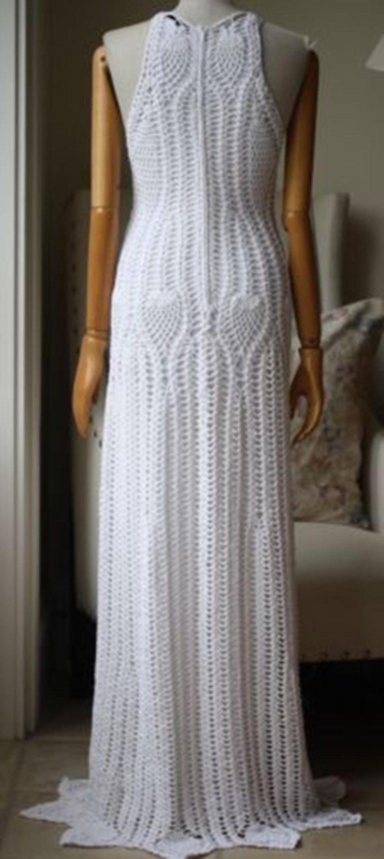 Rosetta Getty Crocheted Cotton-Blend Maxi Dress In Excellent Condition For Sale In London, GB