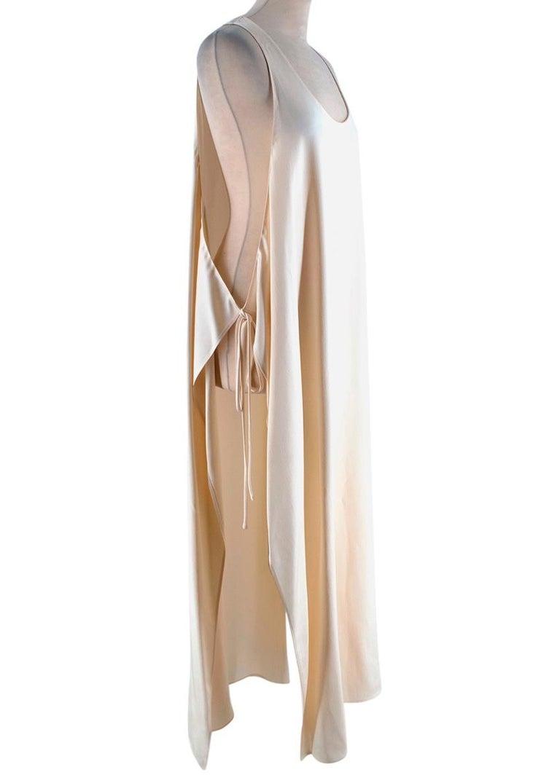 Beige Rosetta Getty Ivory Tie Front Midi Dress - Size US 4 For Sale