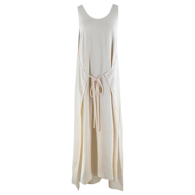 Rosetta Getty Ivory Tie Front Midi Dress - Size US 4 For Sale