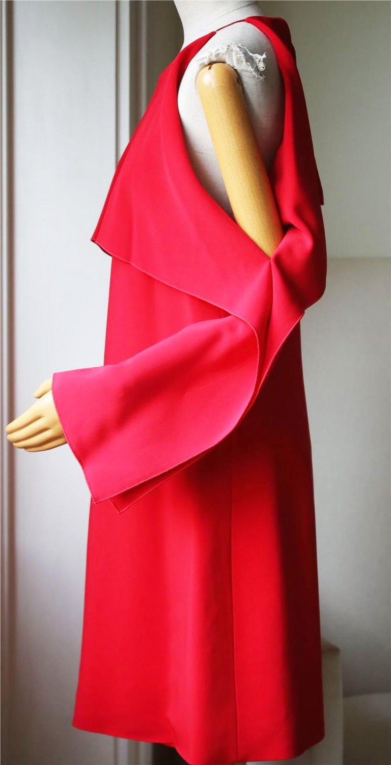 Red Rosetta Getty Layer Cutout Stretch-Cady Dress  For Sale