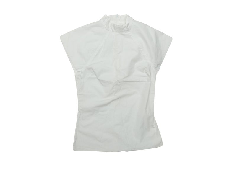 Rosetta Getty White Cap Sleeve Mock Neck Top In Excellent Condition For Sale In New York, NY