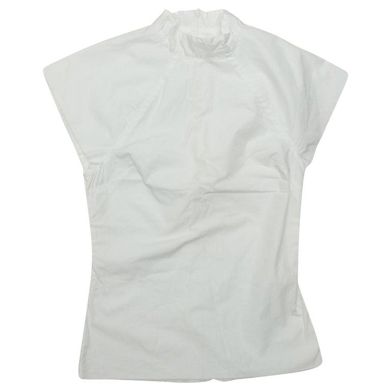 Rosetta Getty White Cap Sleeve Mock Neck Top For Sale
