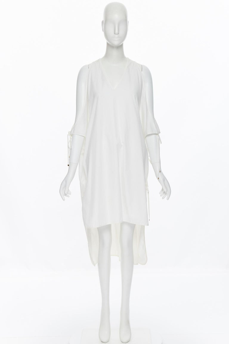 Gray ROSETTA GETTY white cotton gold harware tie side high low casual dress XS For Sale