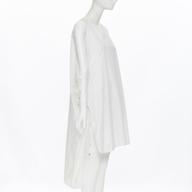 ROSETTA GETTY white cotton gold harware tie side high low casual dress XS In Excellent Condition For Sale In Hong Kong, NT