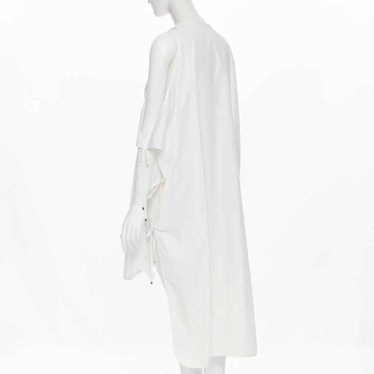 ROSETTA GETTY white cotton gold harware tie side high low casual dress XS For Sale 2