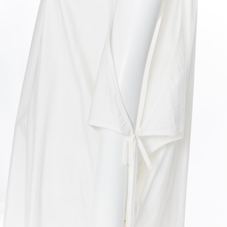 ROSETTA GETTY white cotton gold harware tie side high low casual dress XS For Sale 4