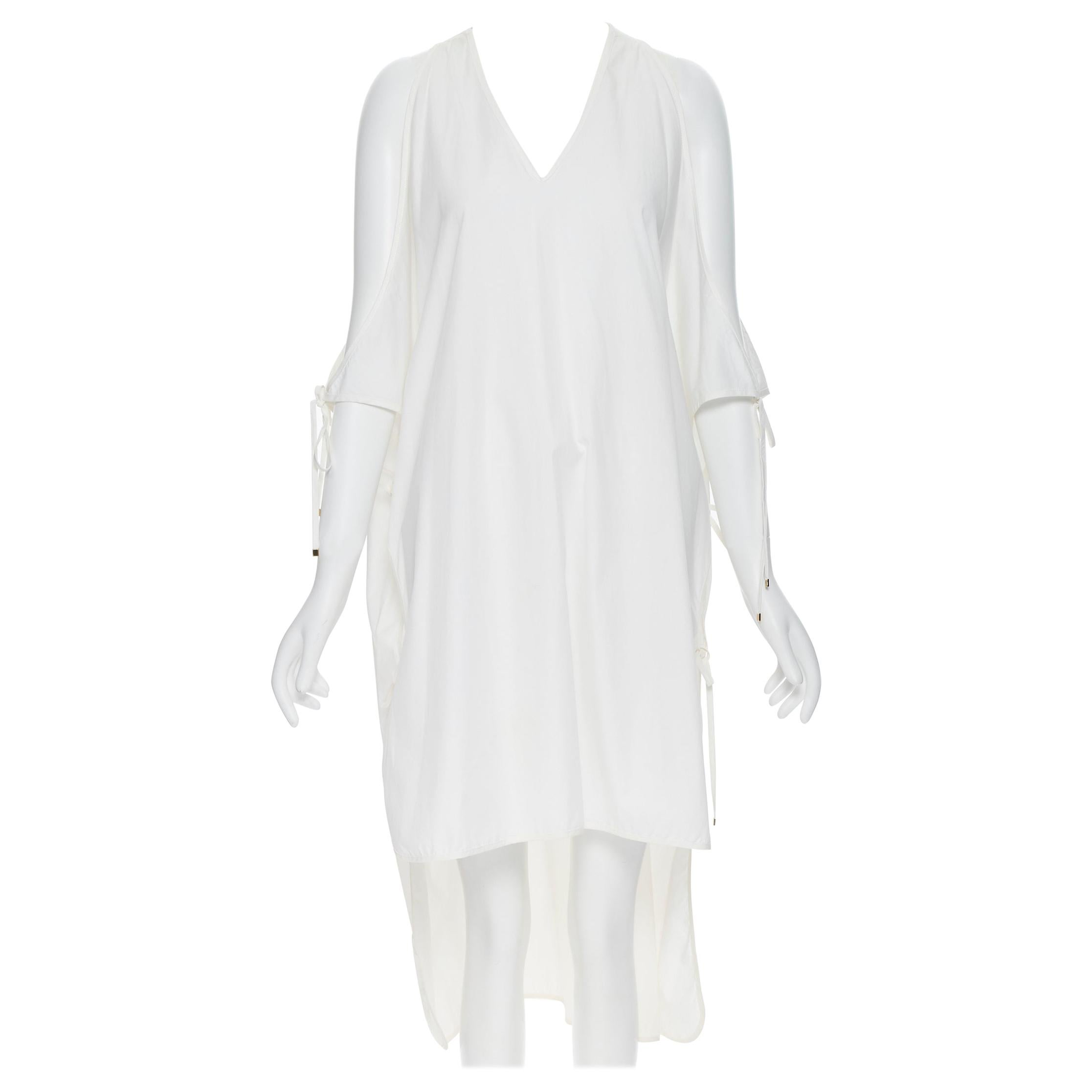 ROSETTA GETTY white cotton gold harware tie side high low casual dress XS