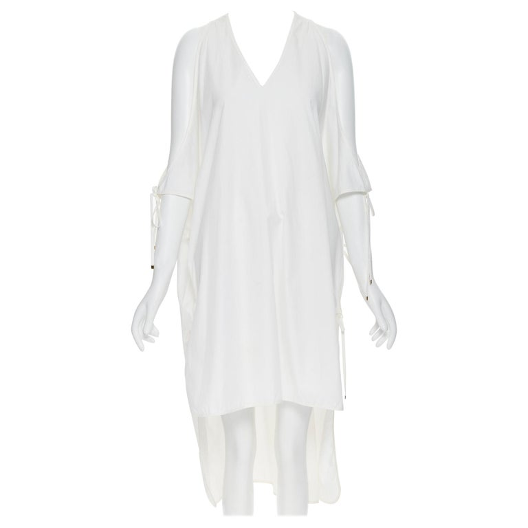 ROSETTA GETTY white cotton gold harware tie side high low casual dress XS For Sale