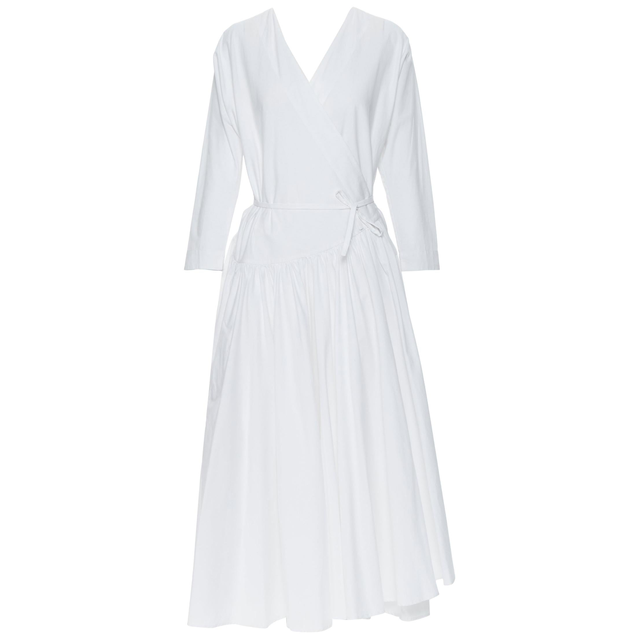 ROSETTA GETTY white cotton wrap front self tie flared casual midi day dress XS