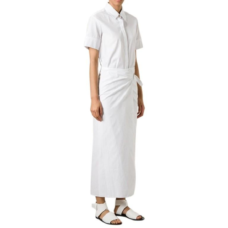 Rosetta Getty White Wrap Shirt Dress  - short sleeve - button up front - wrap around with tie at the waist   Please note, these items are pre-owned and may show signs of being stored even when unworn and unused. This is reflected within the