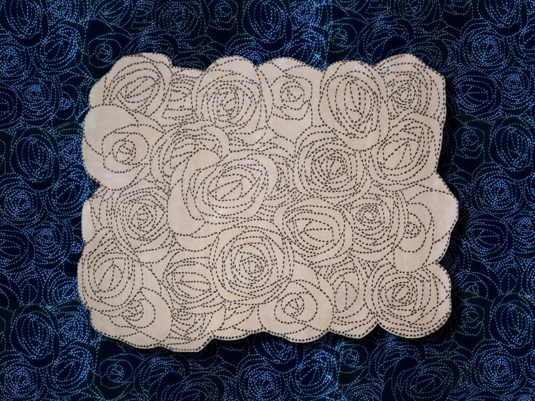 Nepalese Rosetum Bouquet Carpet, Hand Knotted in Wool, 100 Knots, Bartoli Design For Sale
