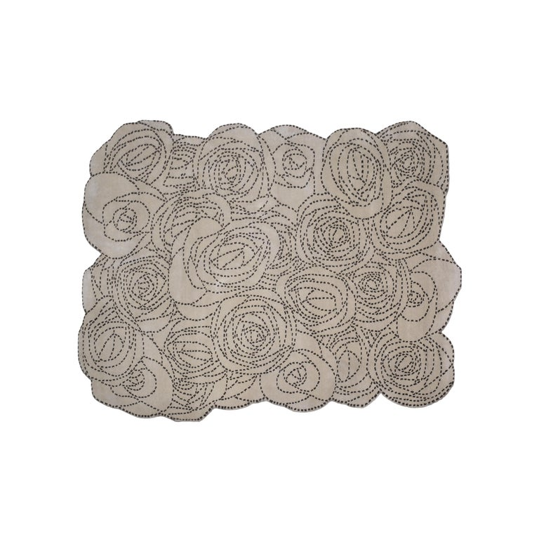 Rosetum Bouquet Carpet, Hand Knotted in Wool, 100 Knots, Bartoli Design For Sale