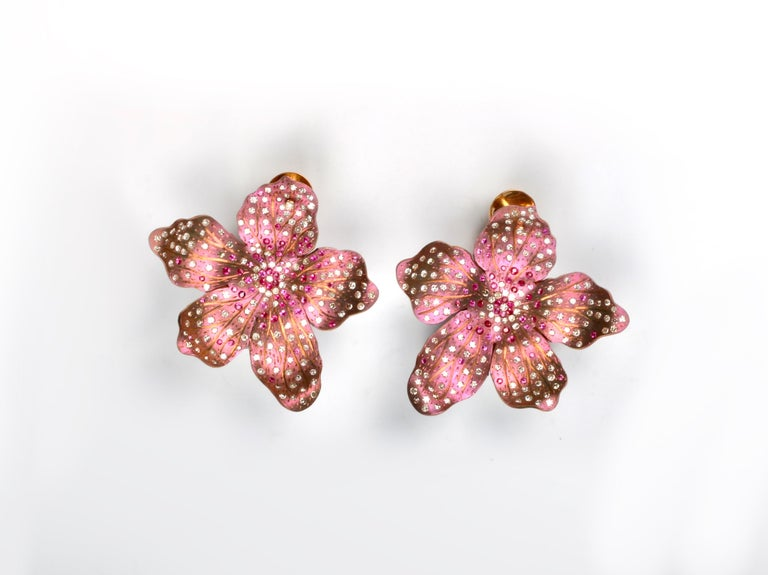 Roseus Periwinkle Titanium Flower Earrings with Rubies and Diamonds  3 carats of diamonds and 1.20 carats of Rubies. 18kt Gold backs.