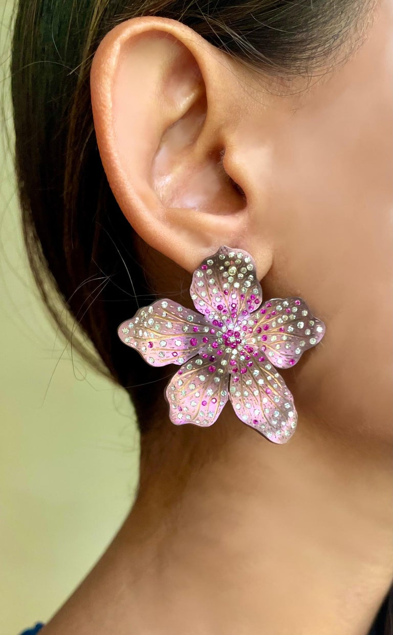 Round Cut Roseus Periwinkle Titanium Earrings with Rubies and Diamonds 18kt Gold For Sale