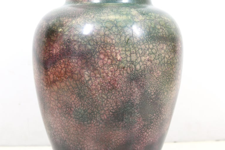 Glazed Roseville for Tiffany Chinese Form Pauleo Ceramic Vase For Sale