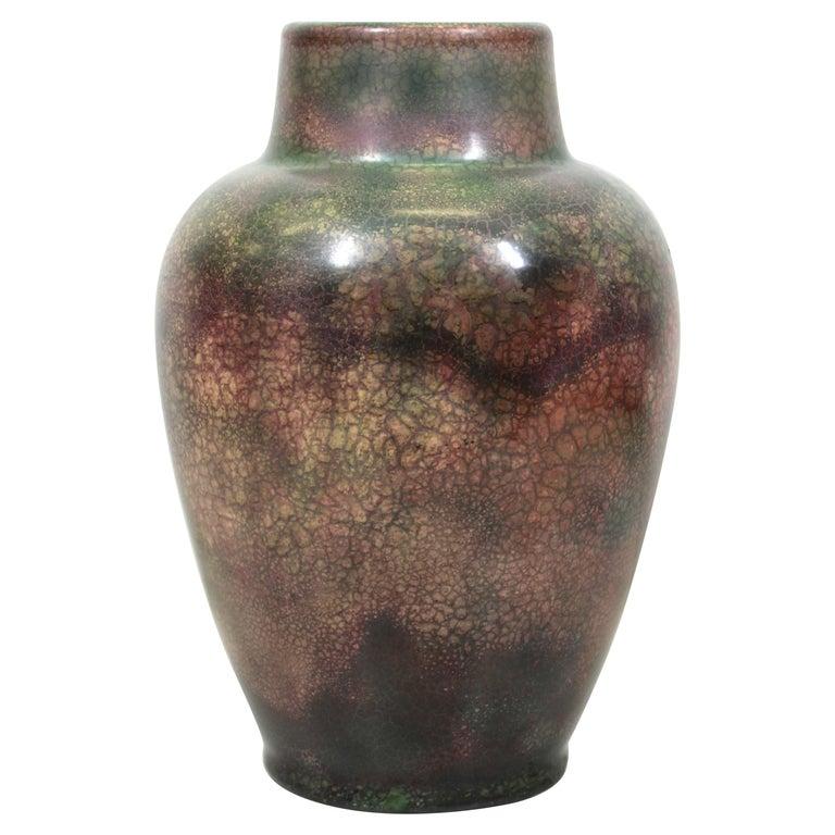 Roseville for Tiffany Chinese Form Pauleo Ceramic Vase For Sale