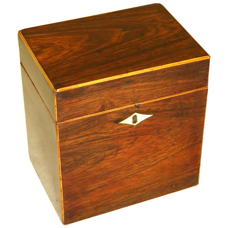 Rosewood 18th Century Oblong Tea Caddy For Sale