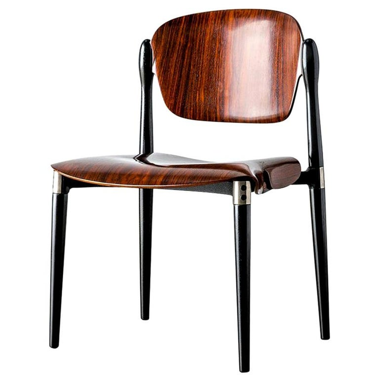 "Rosewood and Black Lacquered ""S83"" Side Chair by Eugenio Gerli for Tecno, 1962 For Sale"