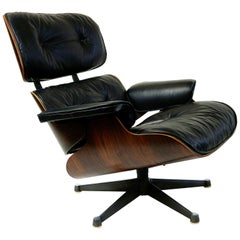 Rosewood and Black Leather Eames Lounge Chair by ICF for Herman Miller