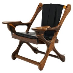 """Rosewood and Black Leather """"Swinger Chair"""" by Don Shoemaker"""