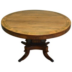 Rosewood and Brass Inlaid Regency Circular Centre Table