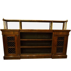 Rosewood and Brass Open Bookcase