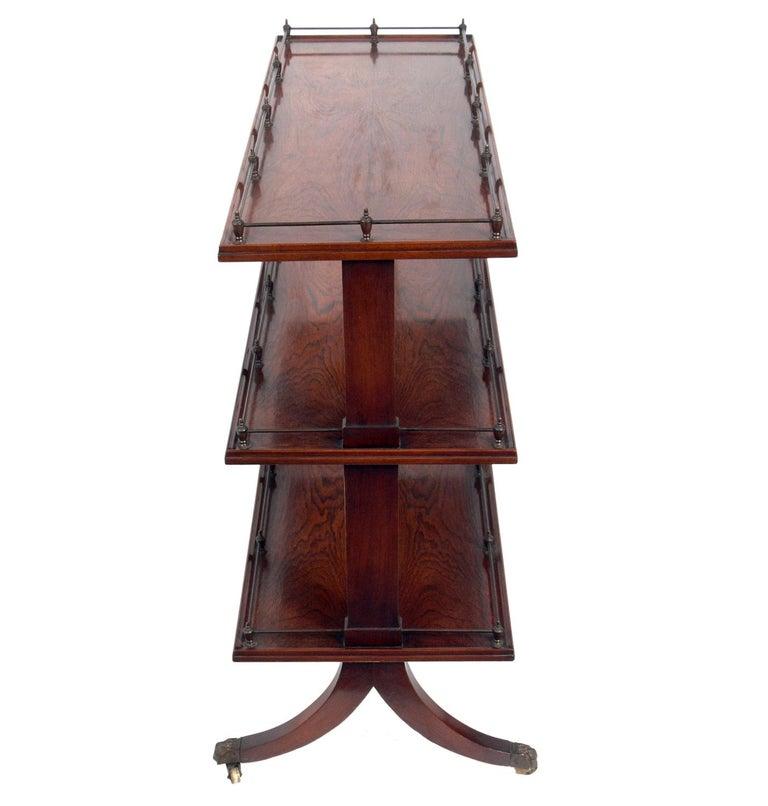 Regency Revival Rosewood and Brass Serving Cart For Sale