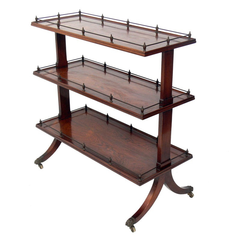 Rosewood and Brass Serving Cart For Sale