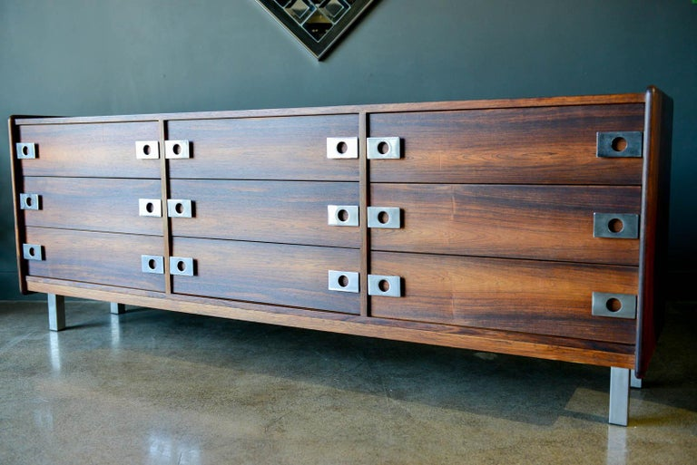 Late 20th Century Rosewood and Chrome 9-Drawer Dresser by Leif Jacobsen, circa 1970 For Sale