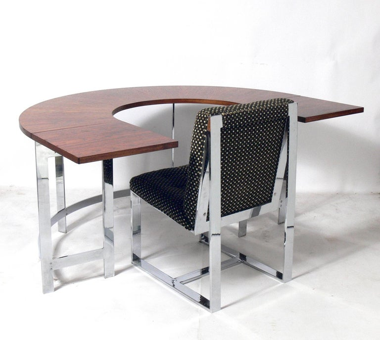 Mid-Century Modern Rosewood & Chrome Arc Desk and Chair For Sale
