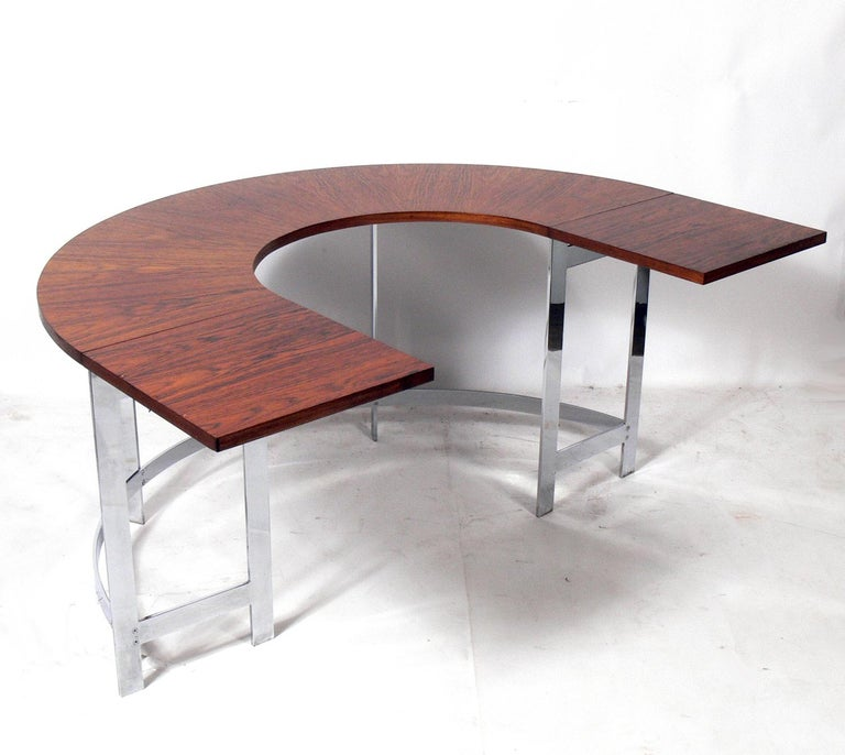 American Rosewood & Chrome Arc Desk and Chair For Sale
