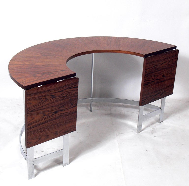 Plated Rosewood & Chrome Arc Desk and Chair For Sale