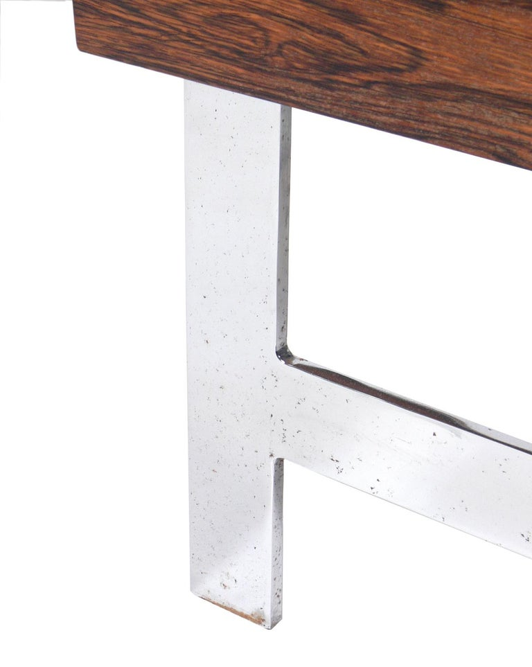 Rosewood & Chrome Arc Desk and Chair In Good Condition For Sale In Atlanta, GA