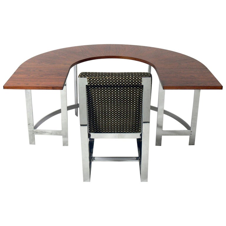 Rosewood & Chrome Arc Desk and Chair For Sale