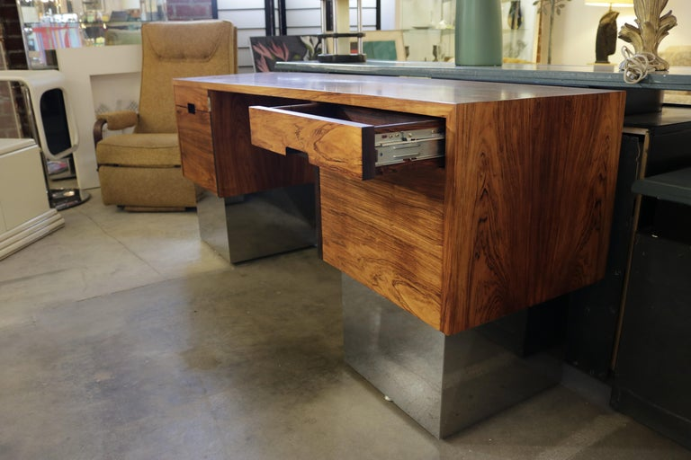 American Rosewood and Chrome Base Desk Attributed to Milo Baughman For Sale