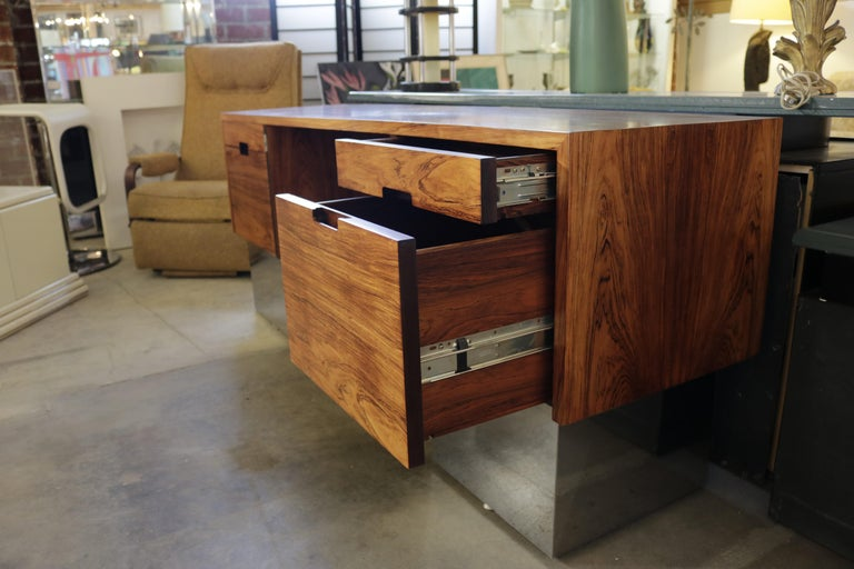 Rosewood and Chrome Base Desk Attributed to Milo Baughman In Excellent Condition For Sale In Los Angeles, CA