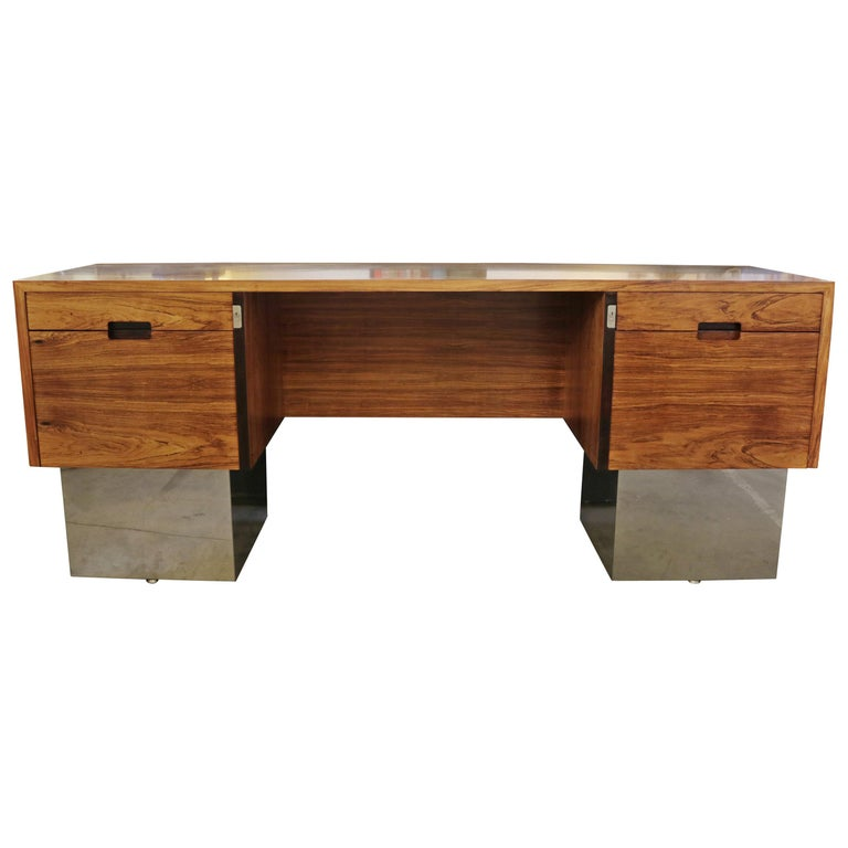 Rosewood and Chrome Base Desk Attributed to Milo Baughman For Sale