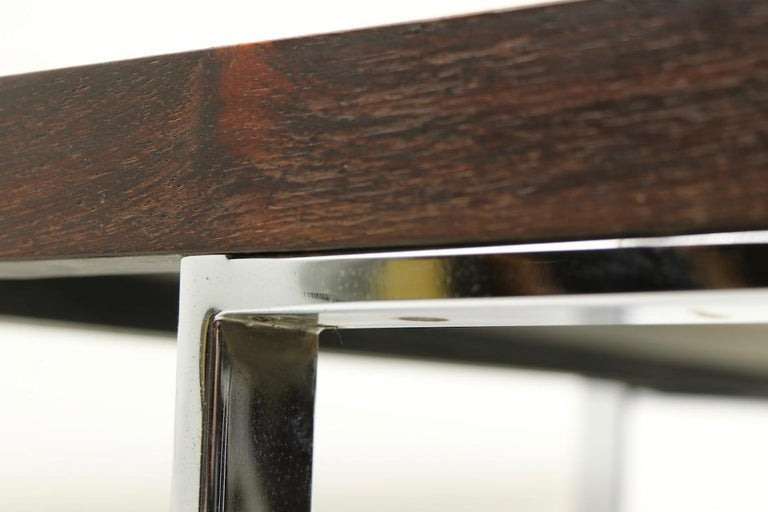 Rosewood and Chrome Coffee Table by Baughman for Thayer Coggin For Sale 5